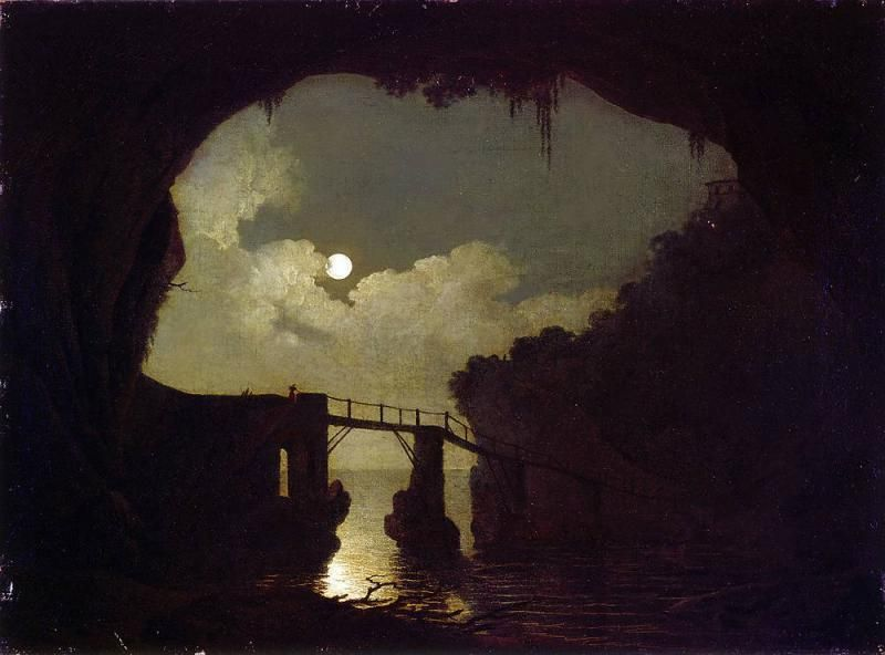 Joseph Wright of Derby, Bridge through a Cavern, Moonlight, 1791 - Public Domain via Wikipedia Commons