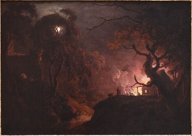 Joseph Wright of Derby, Cottage on Fire at Night, 1785-93, Yale Center for British Art - Public Domain via Wikipedia Commons