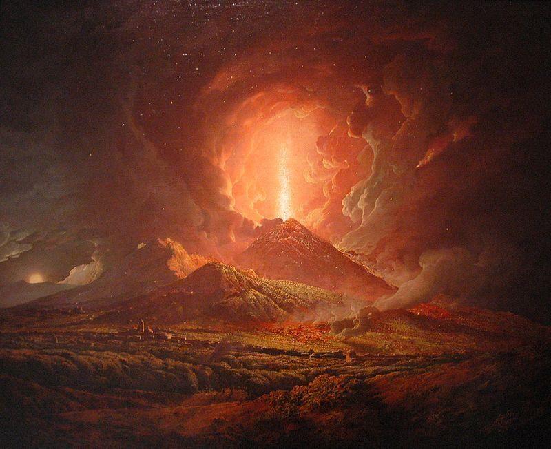 Joseph Wright of Derby, Vesuvius from Portici, (Huntington Library, San Marino, California) - Public Domain via Wikipedia Commons