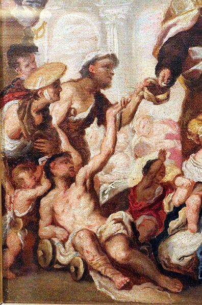 Luca Giordano, Bozzetto per l'elemosina di San Tommaso - Villanova (Trezzo sull'Adda, Quadreria Crivelli) - Di Sailko (Opera propria) [CC BY 3.0], attraverso Wikim