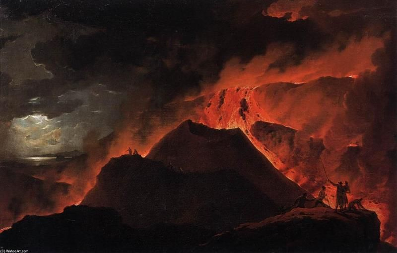 Michael Wutky, L'eruzione del Vesuvio, 1779, Vienna, Akademie der Bildenden Künsten - Public Domain via Wikioo.org