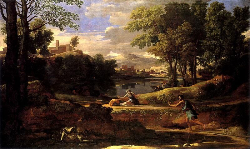 Nicolas Poussin, Landscape with a man killed by a snake Poussin, 1648, National Gallery - Public Domain via Wikipedia Commons