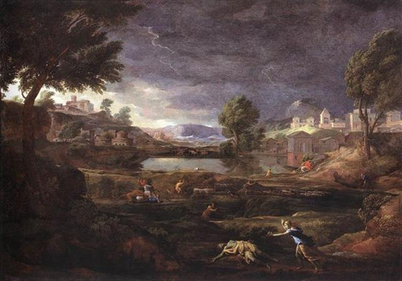 Nicolas Poussin, Paesaggio con Piramo e Tisbe, 1650-51, Francoforte, Städelsches Kunstinstitut - Pinterest