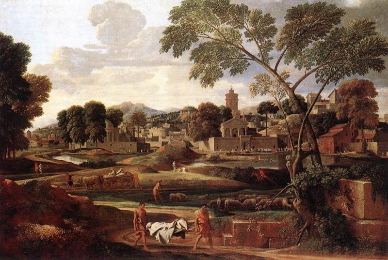 Nicolas Poussin, Paesaggio con i funerali di Focione, 1648, Shropshire, Oakly Park, Collezione Earl of Plymouth - Public Domain via Wikipedia Commons