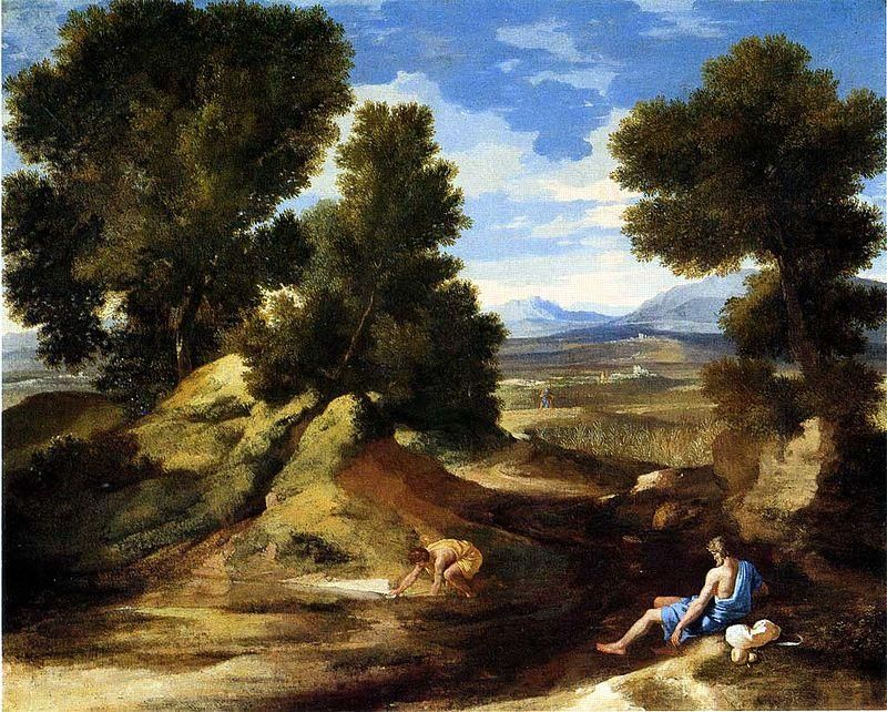 Nicolas Poussin, Paysage avec homme buvant, 1637, National Gallery London - Public Domain via Wikipedia Commons