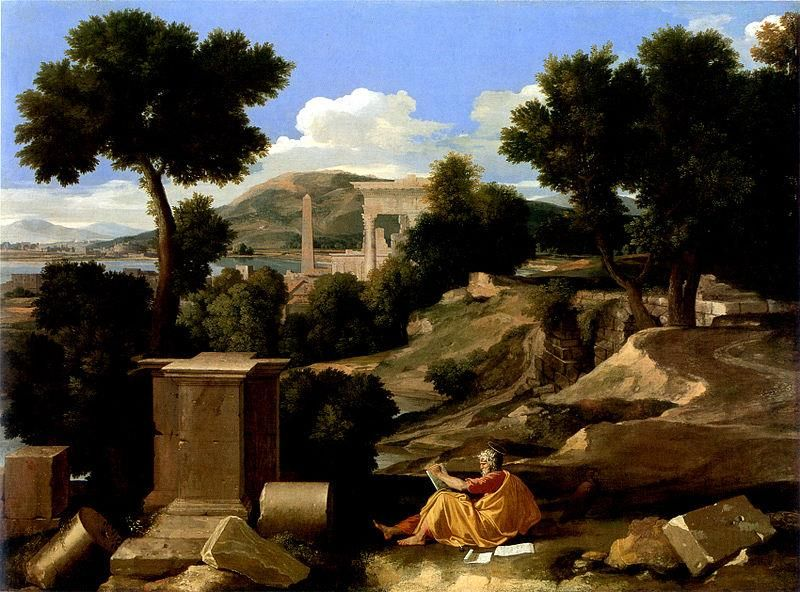 Nicolas Poussin, Paysage avec saint Jean à Patmos, 1640, Chicago Art Institute - Public Domain via Wikipedia Commons