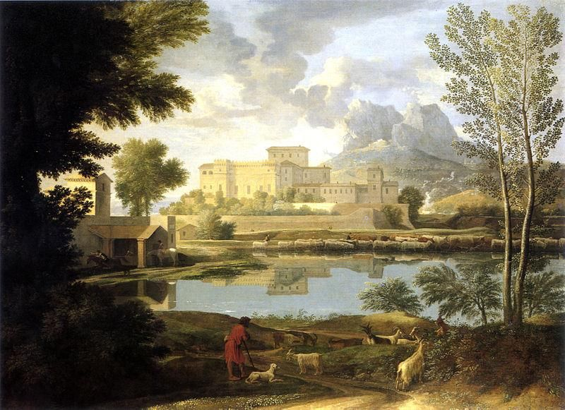 Nicolas Poussin, Paysage par temps calme, 1651, GettyCenter - Public Domain via Wikipedia Commons
