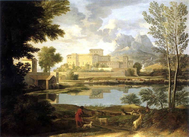 Nicolas Poussin, Paysage par temps calme, 1651, GettyCenter - Public Domain via Wikipedia Commons