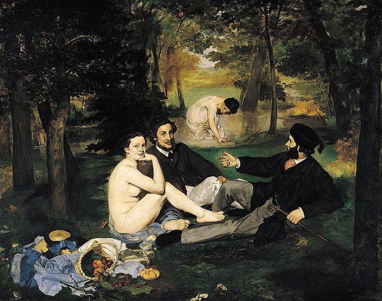 Édouard Manet, Déjeuner sur l'herbe, 1863, Musée d'Orsay, Parigi - Public Domain via Wikipedia Commons