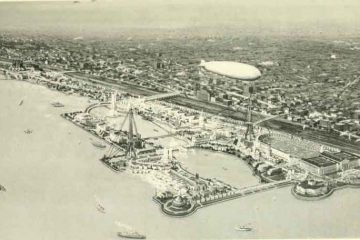 EXPO 1933 CHICAGO - A Century of Progress - International Exposition 1933 Chicago - panorama bell telephone magazine 1922 by internet archive book images no restrictions via wikimedia commons