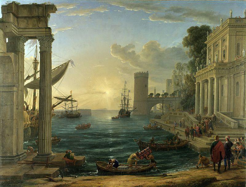 Claude Lorrain, Porto di mare con l'imbarco della regina di Saba, 1648, National Gallery, Londra - Public Domain via Wikipedia Commons