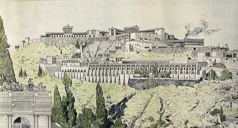 Drawing of ancient Pergamon - See page for author [Public domain], via Wikimedia Commons