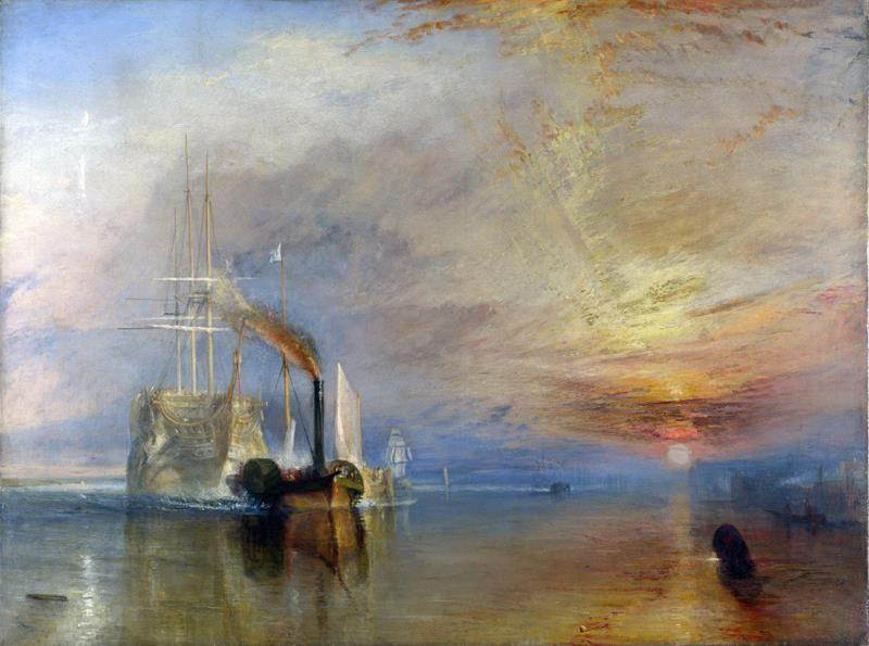 Joseph Mallord William Turner, La valorosa Téméraire trainata al suo ultimo ancoraggio per essere demolita, 1839 - Public Domain via Wikipedia Commons