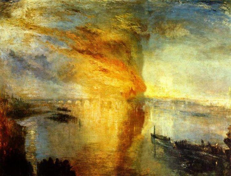 Joseph Mallord William Turner, L'incendio delle Camere dei Lord e dei Comuni, 1835 - Public Domain via Wikipedia Commons