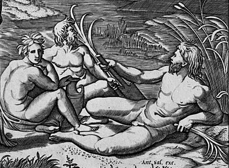 Marcantonio Raimondi, Giudizio di Paride (da Raffaello Sanzio), Dettaglio,  1515-16, Staatsgalerie Stuttgart - Public Domain via Wikipedia Commons.