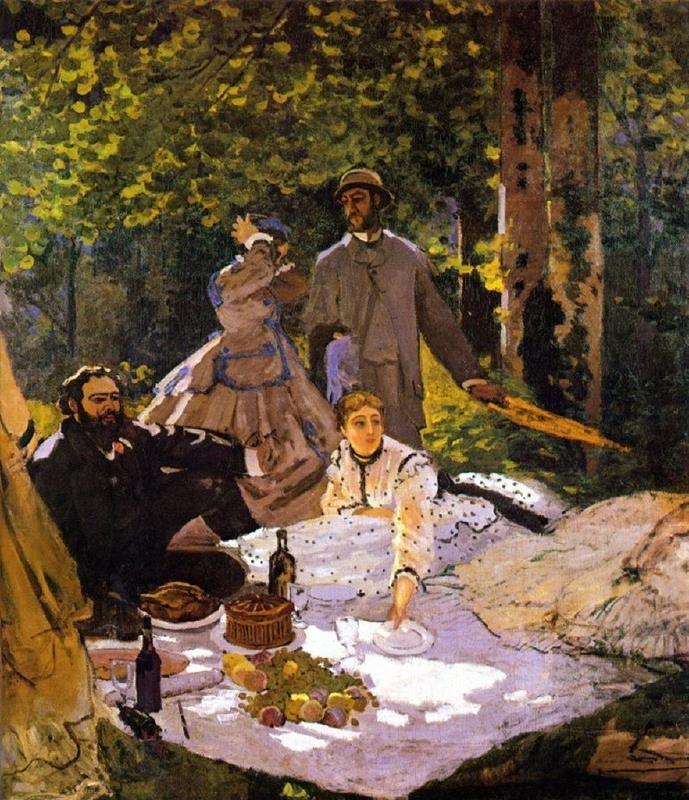 Monet, Déjeuner sur l'herbe, 1865-66, Musée d'Orsay - Public Domain via Wikipedia Commons.