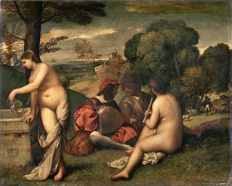 Tiziano (o Giorgione), Concerto campestre, 1510, Louvre, Parigi - Public Domain via Wikipedia Commons.