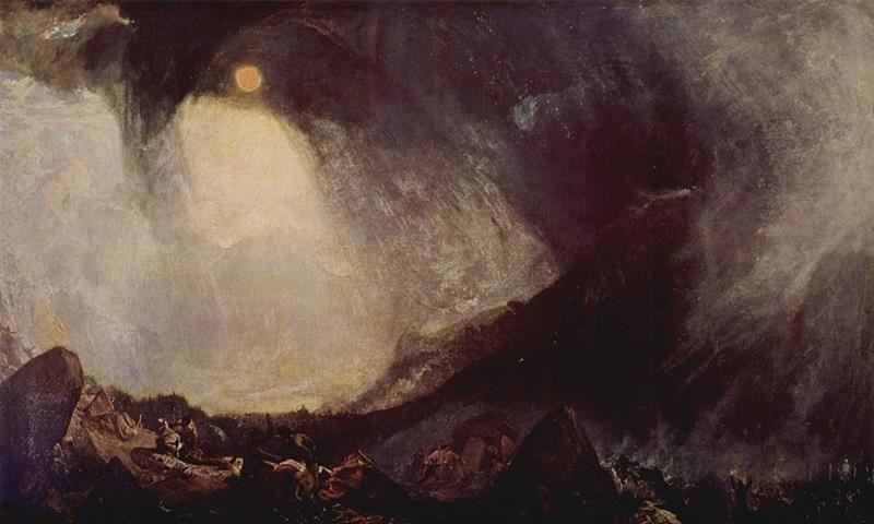 William Turner, Bufera di neve. Annibale e il suo esercito attraversano le Alpi, 1812, Tate Gallery, Londra - Public Domain via Wikipedia Commons
