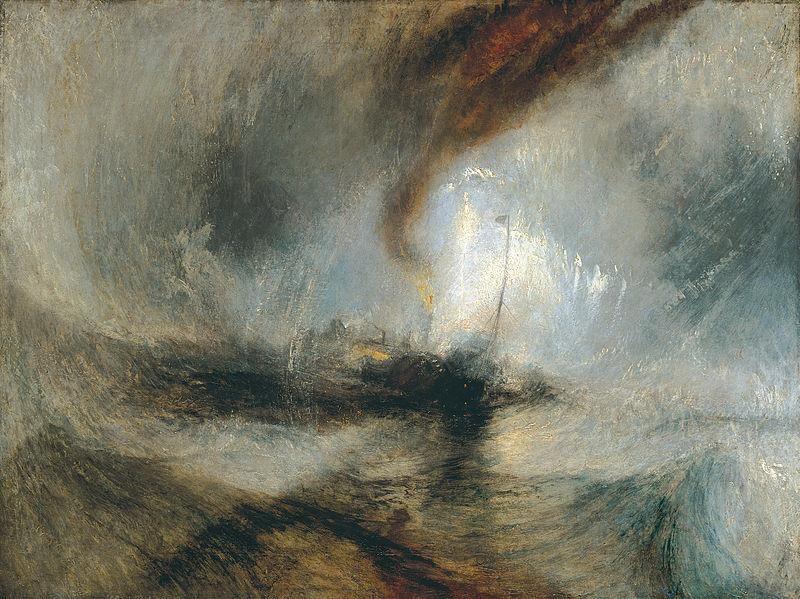 William Turner, Tempesta di neve. Battello a vapore al largo di Harbour's Mouth, 1842, Londra, Tate Gallery - Public Domain via Wikipedia Commons