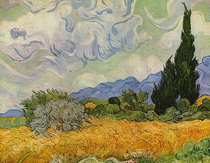 Vincent van Gogh, Campo di grano con cipressi, 1889 - Public Domain via Wikipedia Commons