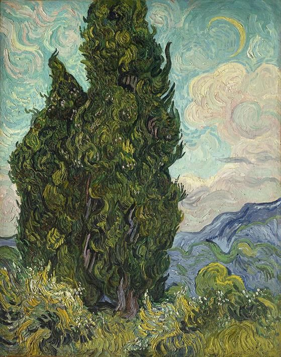 Vincent van Gogh, Cypresses, 1889. Metropolitan Museum of Art, New York - Public Domain via Wikipedia Commons