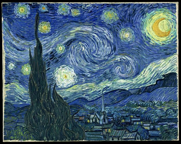 Vincent van Gogh, Notte stellata, 1889, Museum of Modern Art, New York - Public Domain via Wikipedia Commons