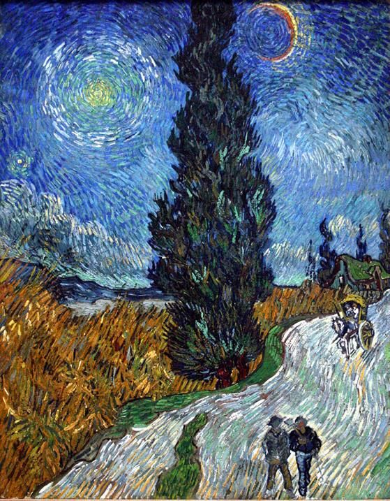 Vincent van Gogh, Strada con cipresso e stella, 1890, Kröller-Müller Museum - Public Domain via Wikipedia Commons