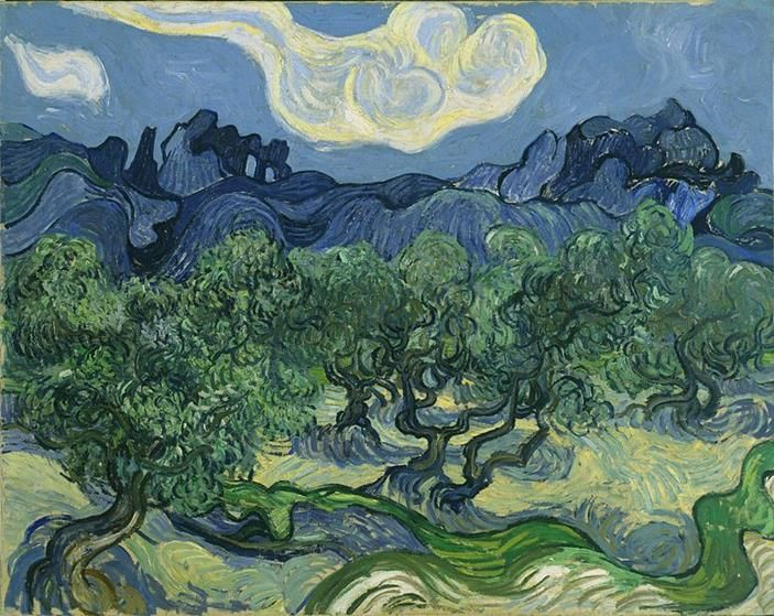 Vincent van Gogh, Ulivi con le Alpilles sullo sfondo, 1889, Museum of Modern Art, New York - Public Domain via Wikipedia Commons