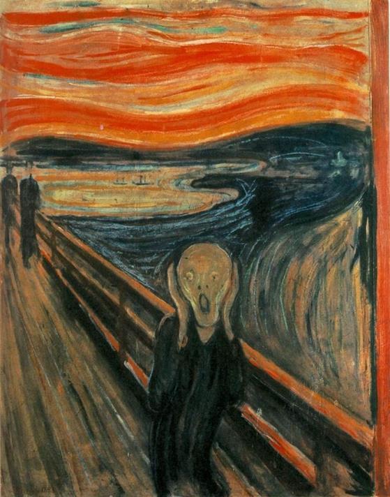 E. Munch, Il grido, 1893. Olio, tempera e pastelli su cartone, 91 x 73.5 cm., Oslo Nasjonalmuseet - Public Domain via Wikipedia Commons