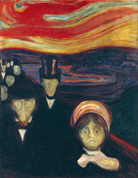 Edvard Munch, Angoscia, 1894, Munch Museum, Oslo, Norway - Public Domain via Wikipedia Commons