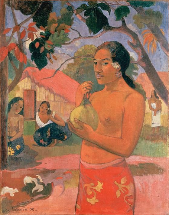 Gauguin, Paul, Eu haere ia oe (Woman Holding a Fruit), 1893 - Public Domain via Wikipedia Commons