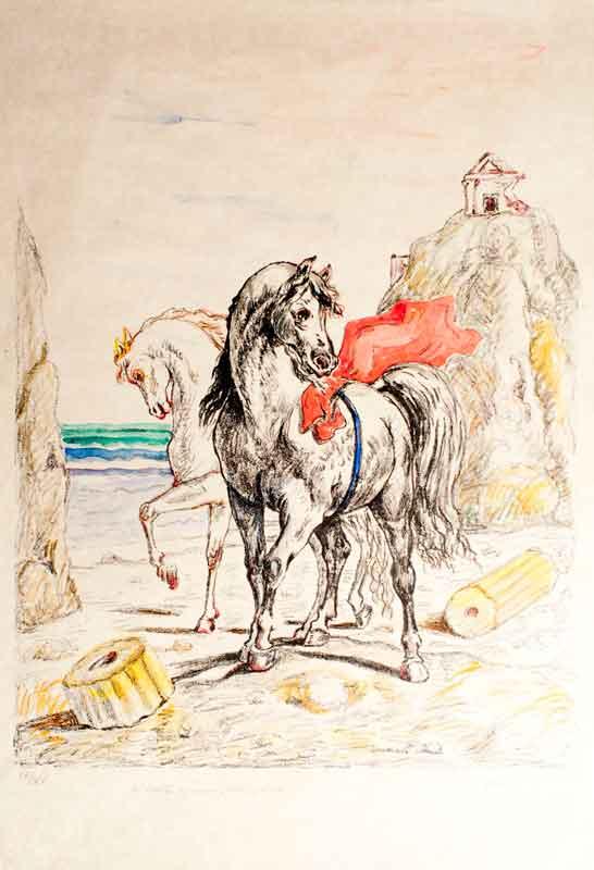Giorgio-de-Chirico,-__Cavalli-antichi__,-1969---Litografia-colorata-a-mano-dall'autore