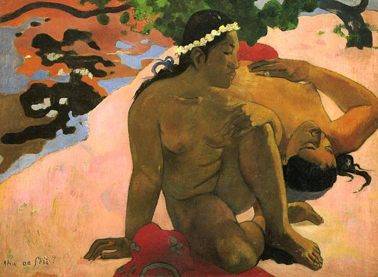 Paul Gauguin, Aha oe feii (Come, sei gelosa), 1892 - Public Domain via Wikipedia Commons