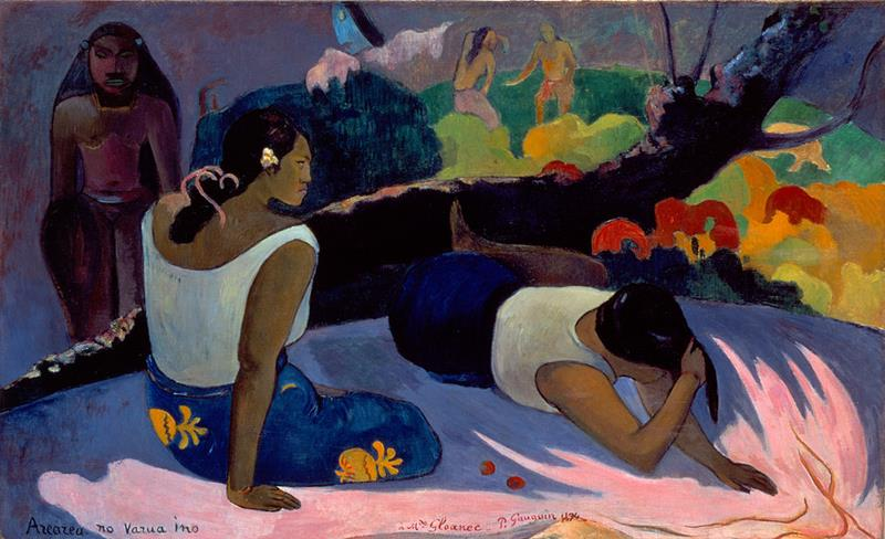 Paul Gauguin, Arearea no varua ino (The Amusement of the Evil Spirit), 1894, Ny Carlsberg Glyptotek - Public Domain via Wikipedia Commons