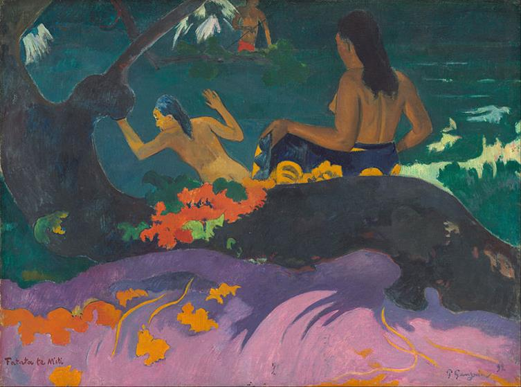 Paul Gauguin, Fatata te Miti, 1892, National Gallery of Art, Washington DC - Public Domain via Wikipedia Commons
