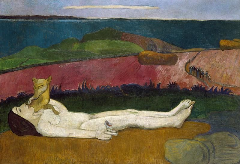 Paul Gauguin, La Perte du pucelage, 1890-91 - Public Domain via Wikipedia Commons