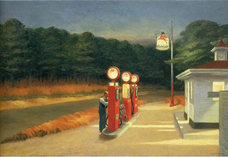 Edward Hopper, Gas, 1940 - Public Domain via Wikimedia Commons
