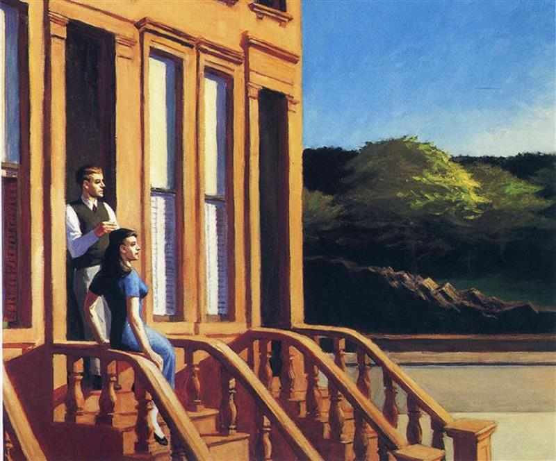 Edward Hopper, Sunlight On Brownstones, 1956 - Wikiart