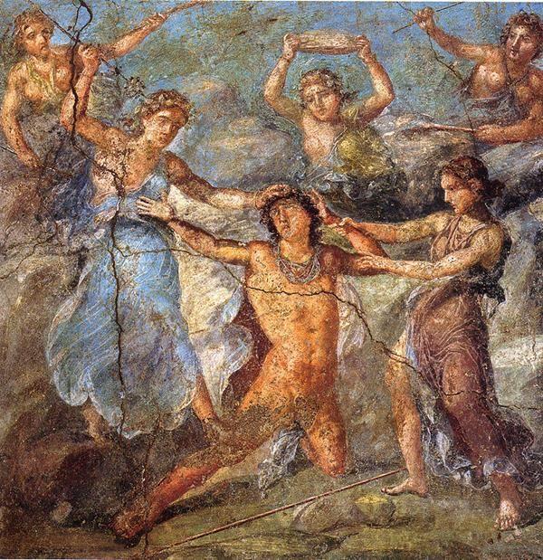 Penteo viene squartato dalle Baccanti. Casa dei Vettii, Pompei, Italia, I secolo d.C. - Public Domain via Wikipedia Commons