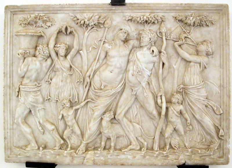 Rilievo in marmo con Dioniso ebbro fra Satiri e Menad, oggi nel Museo Archeologico Nazionale di Napoli - Public Domain via Wikipedia Common