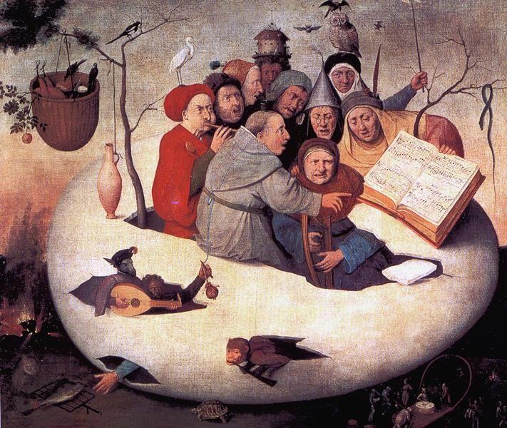Hieronymus Bosch, Il concerto nell'uovo, copia XVI secolo, Lille, Musée des Beaux-Arts - Public Domain via Wikipedia Commons