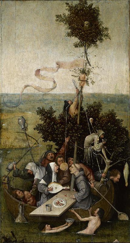 Hieronymus Bosch, La nave dei folli, 1494 ca., Parigi, Museo del Louvre - Public Domain via Wikipedia Commons
