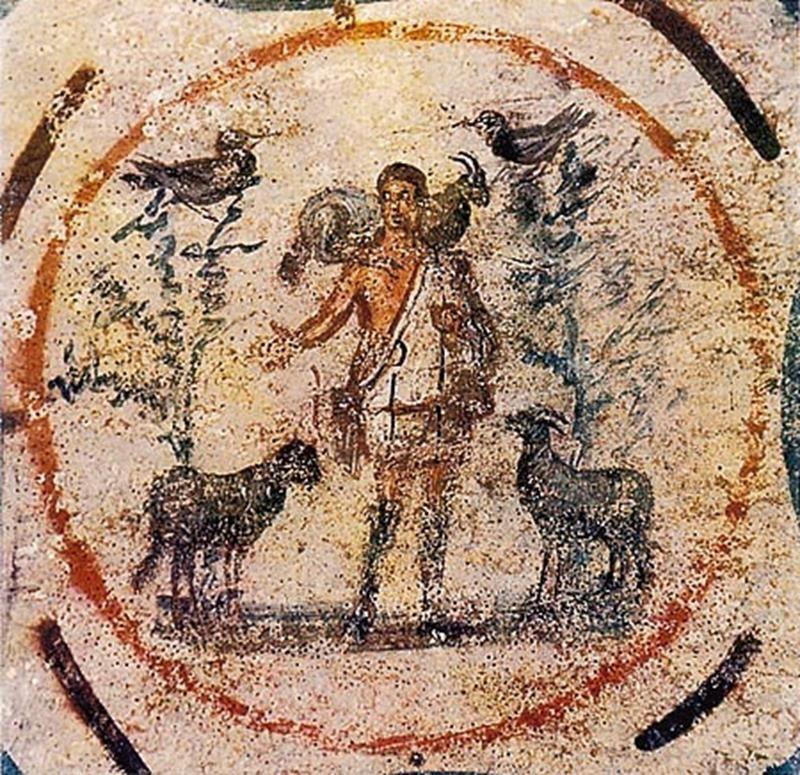 Il Buon Pastore, Catacombe di Priscilla, Roma - Public Domain via Wikipedia Commons