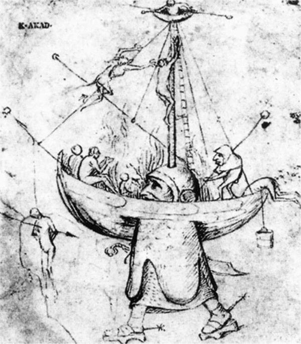 Nave dei folli in fiamme, Disegno attribuito a Hieronymus Bosch - Public Domain via Wikipedia Commons