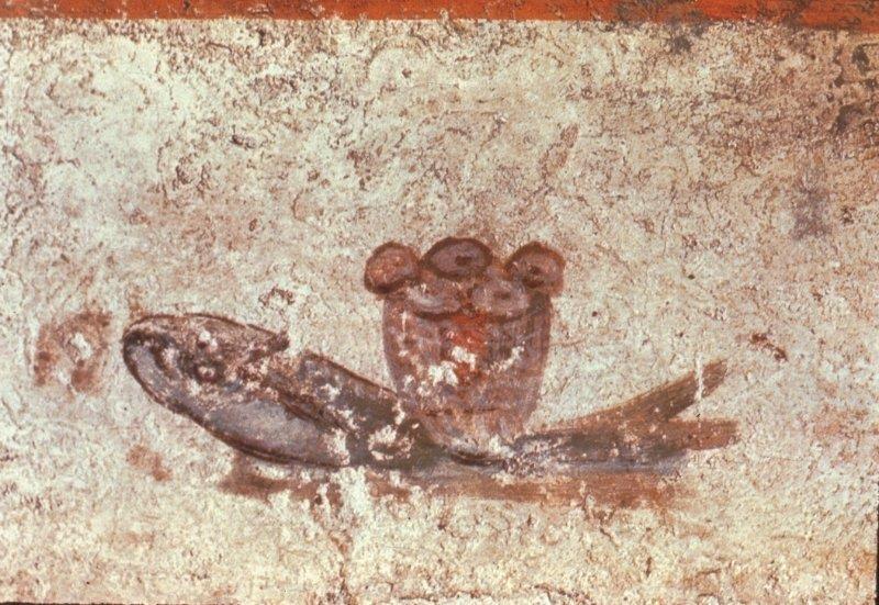 Pane eucaristico e pesce - Ichthys, Catacombe di San Callisto, Roma - Pinterest