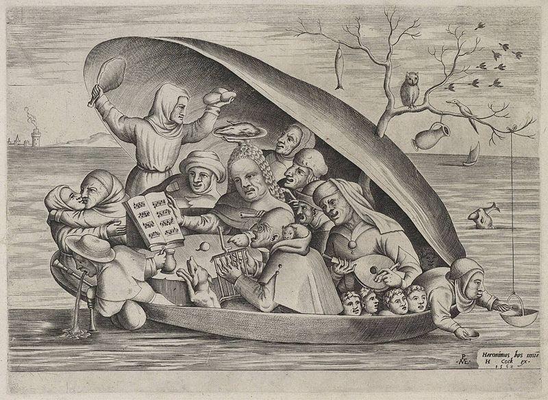 Pieter van der Heyden L'Ecaille naviguant, d'après Jérôme Bosch, burin, 1562, éd. par Jérôme Cock, Université de Liège - Public Domain via Wikipedia Commons