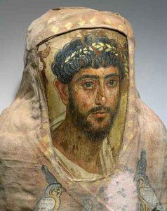 Ritratto maschile applicato a una mummia, dal Fayum - via Wikimedia Commons.