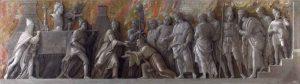 """""""Introduzione del culto di Cibele a Roma"""", dipinto (tempera a colla su tela) di Andrea Mantegna, databile al 1505-1506 e conservato alla National Gallery di Londra. [Image: Andrea Mantegna [Public-domain]-via-Wikimedia-Commons]."""