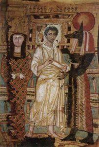 Sindone con l'immagine del defunto, Osiride e Anubis; Pushkin Museum of Fine Arts - Public Domain via Wikimedia Commons.