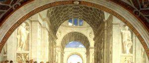 Raffaello, La Scuola di Atene, 1509-11, Stanza della Segnatura, Roma, Musei Vaticani – Public Domain via Wikipedia Commons.